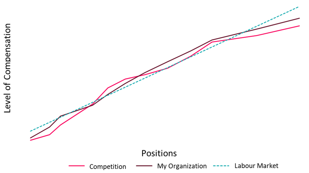 Graph showing salary level by position